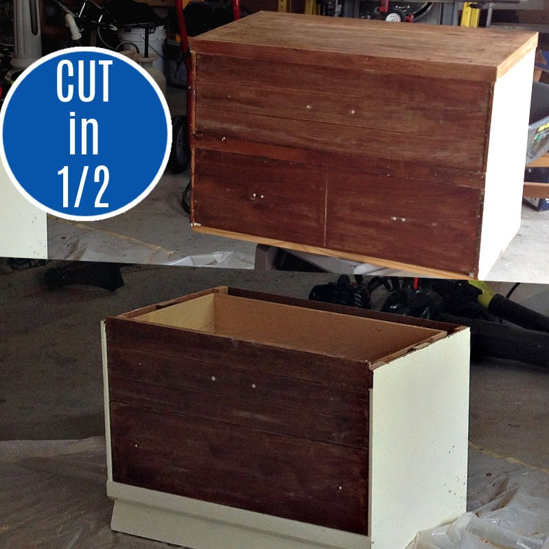 How to cut a dresser in half to make 2 new pieces of furniture. This is how I built Toy Storage and a Vanity out of this $25 Dresser. How to cut furniture in half.