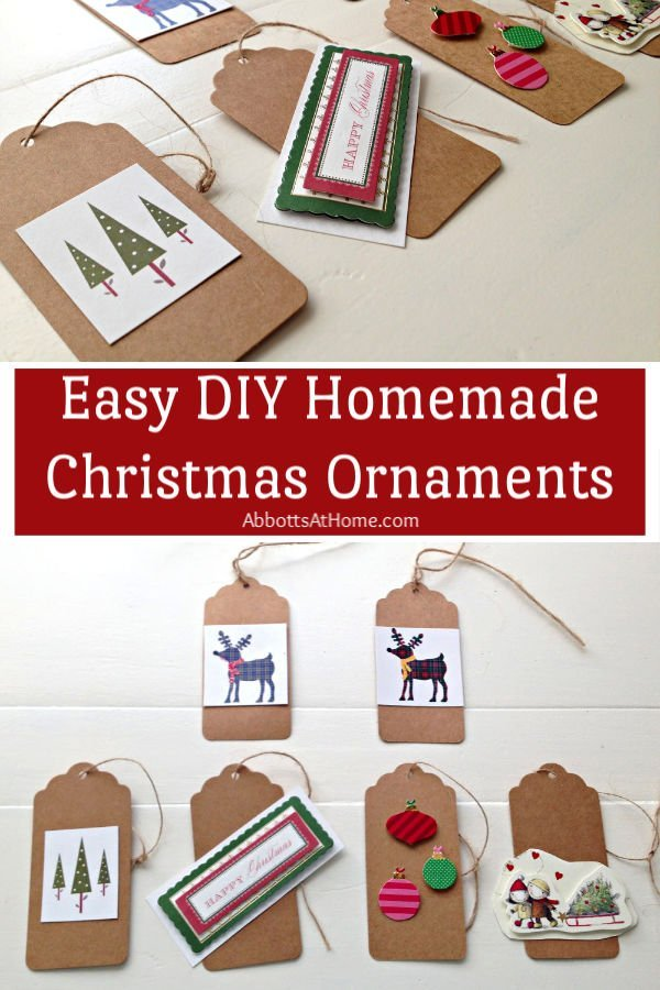 Super easy DIY Homemade Christmas Ornaments for kids to make. Reuse old Christmas Cards to make sweet little brown paper tags to use as ornaments or as gift labels. Easy Christmas Ornament for toddlers or older. Yay! #ChristmasOrnaments #ChristmasCrafts #ChristmasIdeas #HomemadeChristmas #AbbottsAtHome
