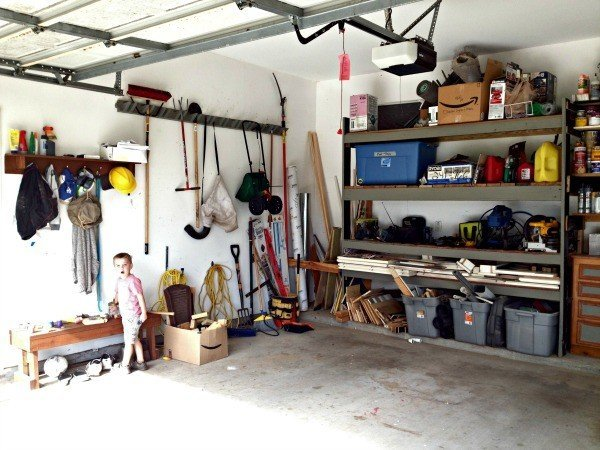 After the DIY shelves were added to the garage