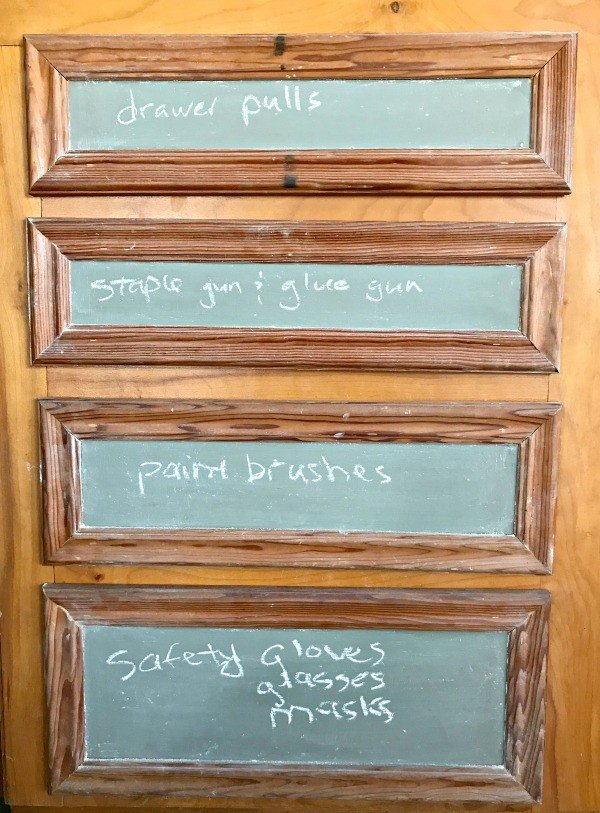 Chalkboard Paint to organize the garage