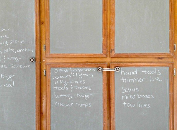 Chalkboard Paint to organize the garage cabinets