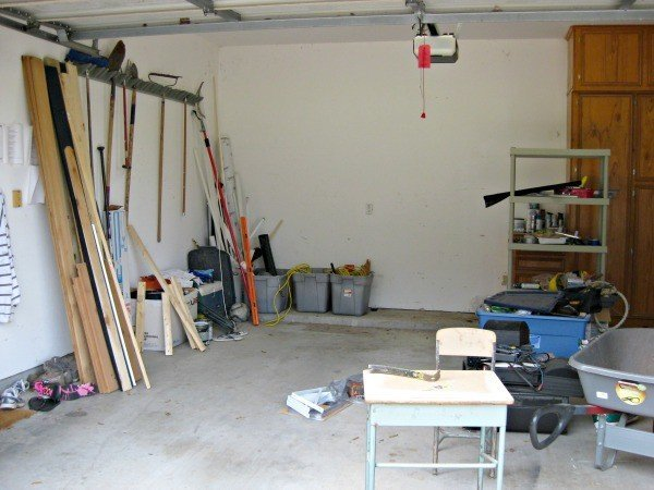 Garage before makeover and DIY shelves