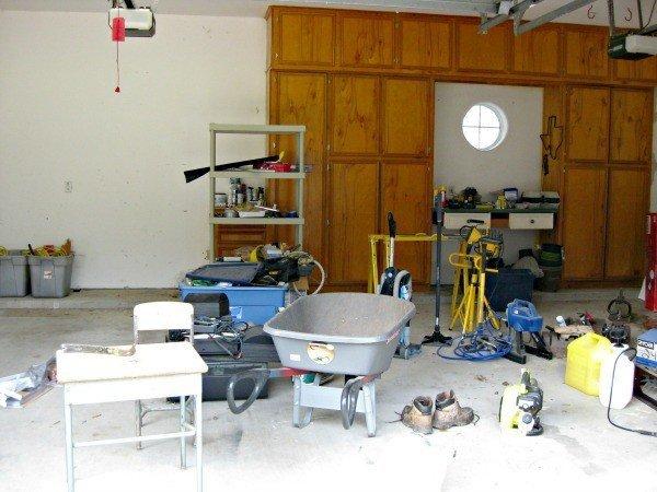 Garage before makeover and DIY shelves