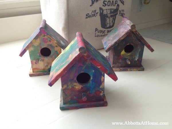 Kids birdhouse art