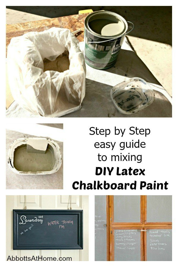 Step by step photo guide to mixing and using DIY latex chalkboard paint