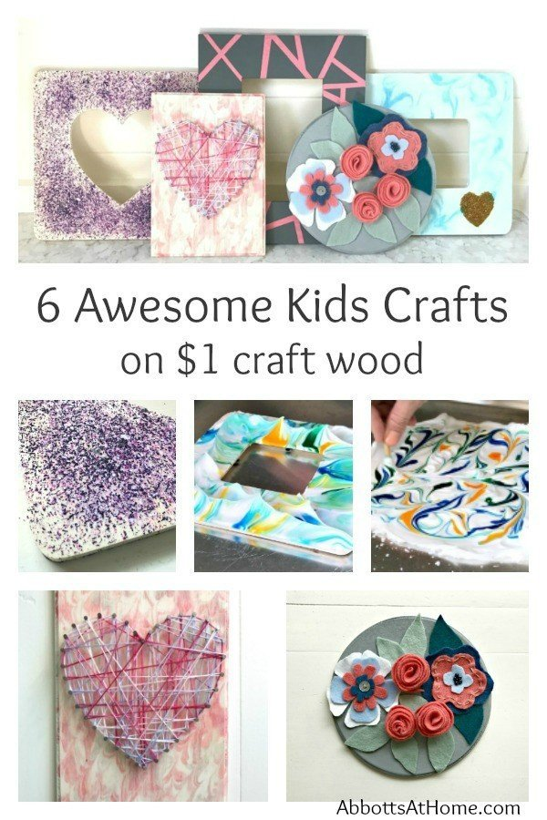 Wood Kids Crafts - Try melting crayons, shaving cream marbling, string art, tape art, simple felt flowers, and glitter glue.