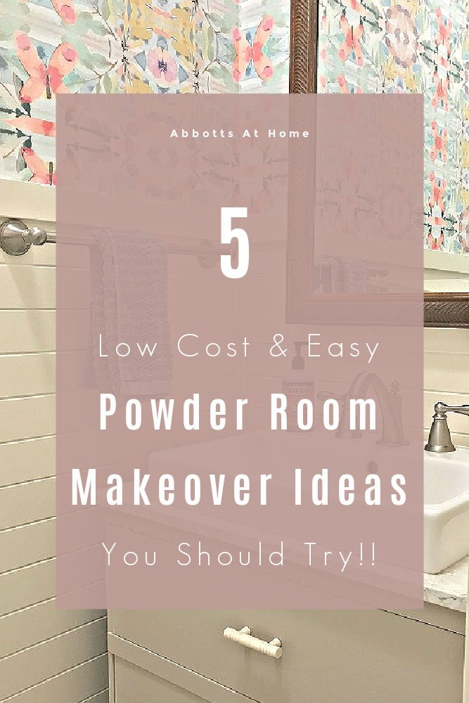 The 5 easy, low cost Powder Room Makeover Ideas that turned this bathroom from blah to full of beautiful farmhouse style. 5 steps to give your powder room or small bathroom a fresh new look on a budget.