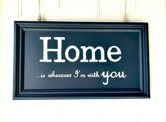 Recycle those old cabinet doors into a cute chalkboard or painted sign