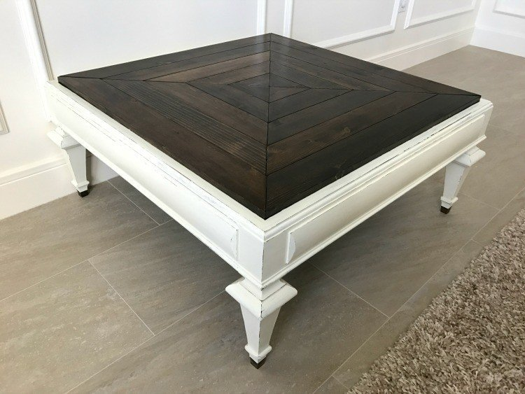 wood mosaic DIY Table Top makeover