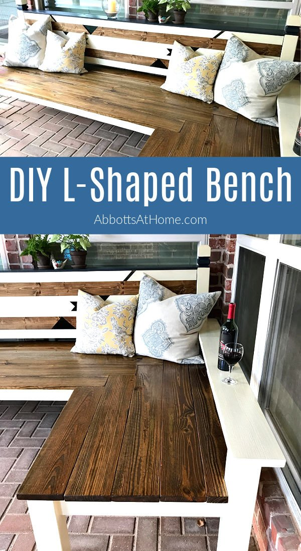 Looking for a beautiful DIY Outdoor Corner Bench Build tutorial? Here's how I built this big L Shaped Bench that was awarded 1st runner up in the Builders Challenge.