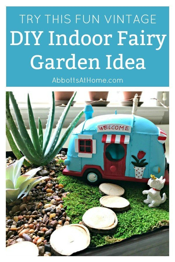 How adorable is this Fun Vintage DIY Indoor Fairy Garden Idea! In under an hour, you can add cute fairy garden details to your favorite indoor plants. #AbbottsAtHome #FairyGarden #IndoorPlants #VintageDecor #HomeDecorIdeas