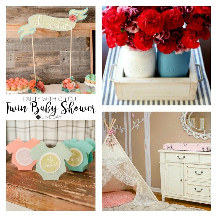 This week's features include decorating for a Twin Baby Shower with a Cricut, a sweet red, white, and blue mason jar table decor, and a pretty little girls room reveal. Check out these features and lots more posts from some great bloggers.
