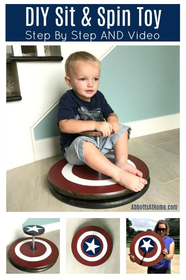 Here's an easy step by step tutorial and video to help you build your own easy DIY Sit & Spin Toy. Customize the paint to match your kids favorite things. This sit and spin is an easy DIY Project anyone can do. #AbbottsAtHome #DIYProjects #DIYProject #SitAndSpin #KidsToys #EasyDIY #PlayroomIdeas #BeginnerWoodworking #WoodworkingIdeas