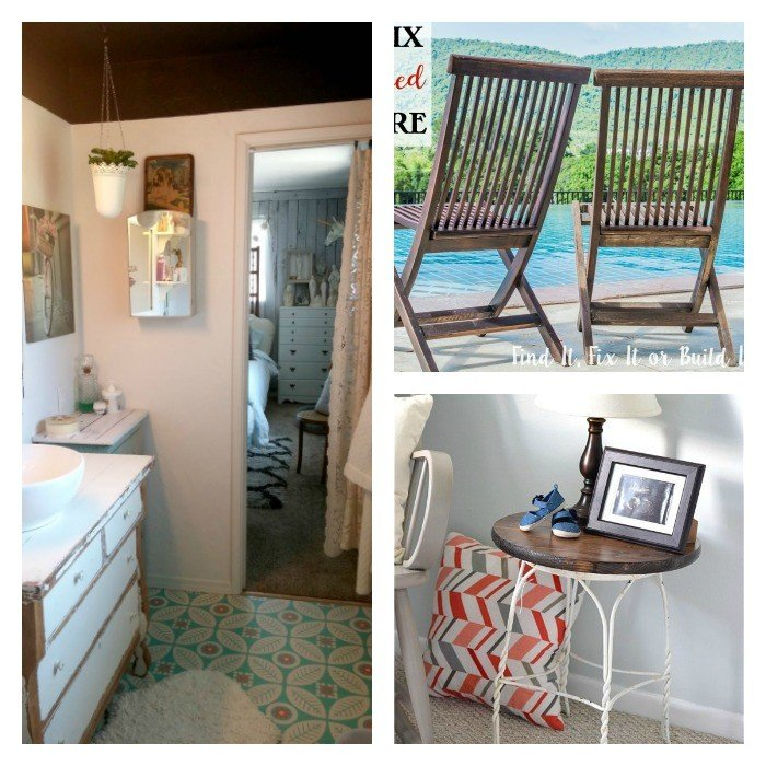 This weeks features include a fun, eclectic vintage bathroom remodel, restoring sun-damaged chairs, and turning a stool into a side table. Check out these features and lots more posts from some great bloggers.