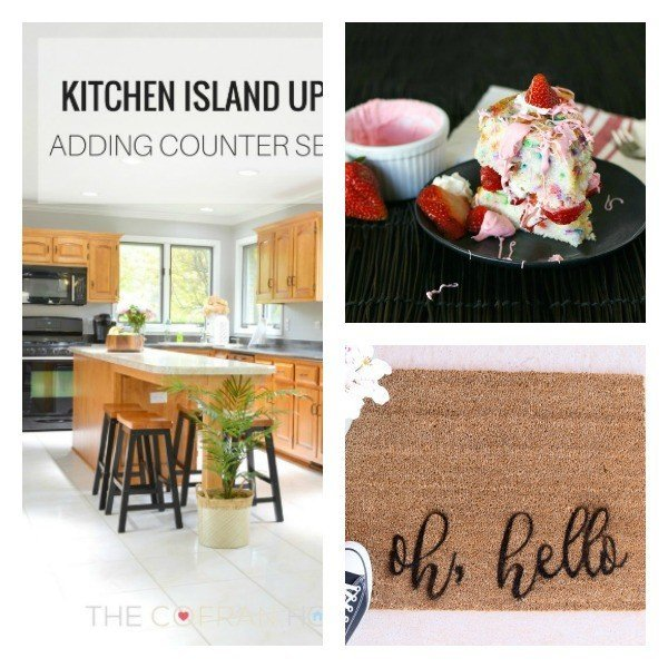 This weeks features include a delicious Strawberry Confetti Cake, a simple custom doormat DIY, and how to add seating to your island. Share your latest DIY, craft, and recipe posts at our link party.