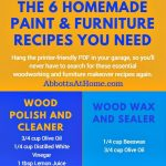 Follow the link to get the Printer-friendly PDF. Print it out and hang in your garage. Room for your recipes included. Save these 6 Recipes for woodworking and furniture finishing to your Pinterest boards. Homemade Wood Cleaner and Restorer Recipe, Chalk Paint Recipe with Plaster of Paris, Chalk Board Paint Recipe, Homemade Wood Stains, Homemade Whitewash Recipe, and a Recipe for Beeswax Furniture Polish.
