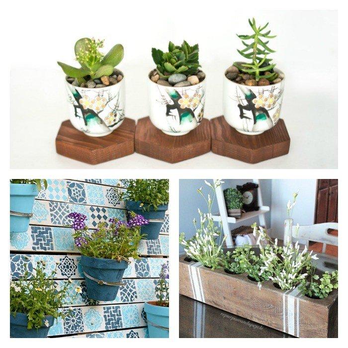 DIY Link Party features Succulent Planter Ideas, Grain Sack Sugar Mold, and a DIY Painted Pallet Planter