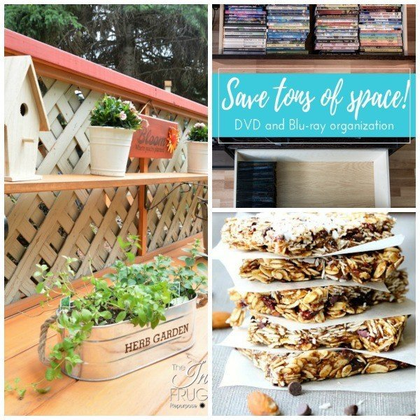 A no-bake Oat Almond Bar, DIY Potting Bench, and how to store DVD's are this weeks features at Link Party 45
