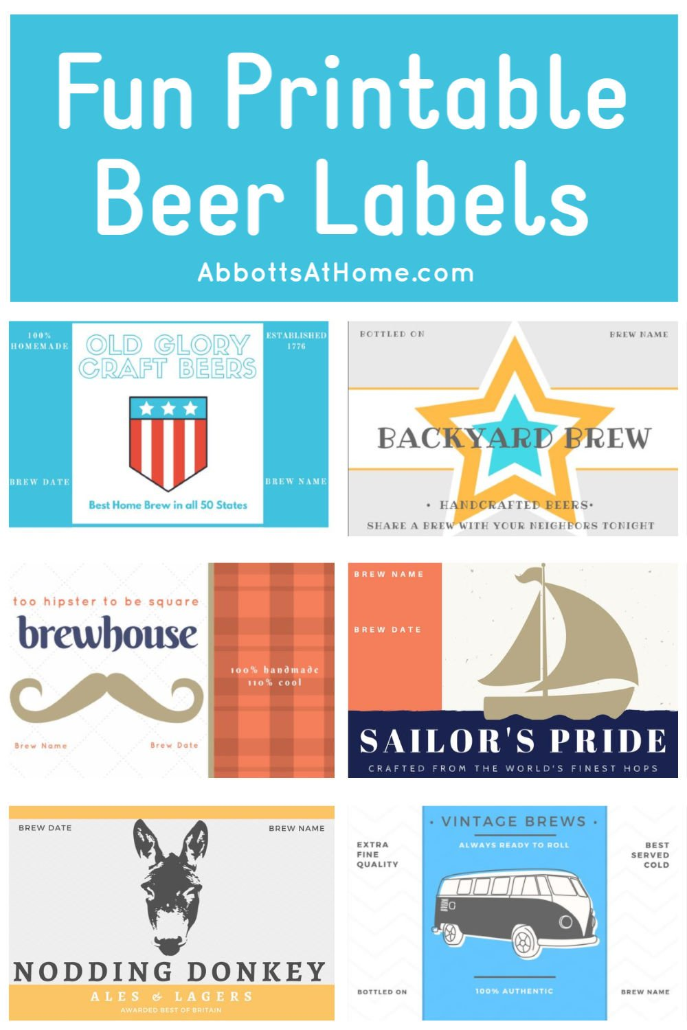 6 Fun & Free Printable Home Brew Bottle Labels. Grab these printables beer labels for your favorite homebrew lover. Each label has a space to write the beer name and brew date. Free printable home brew 8x10 wall art available too! #beer #printables