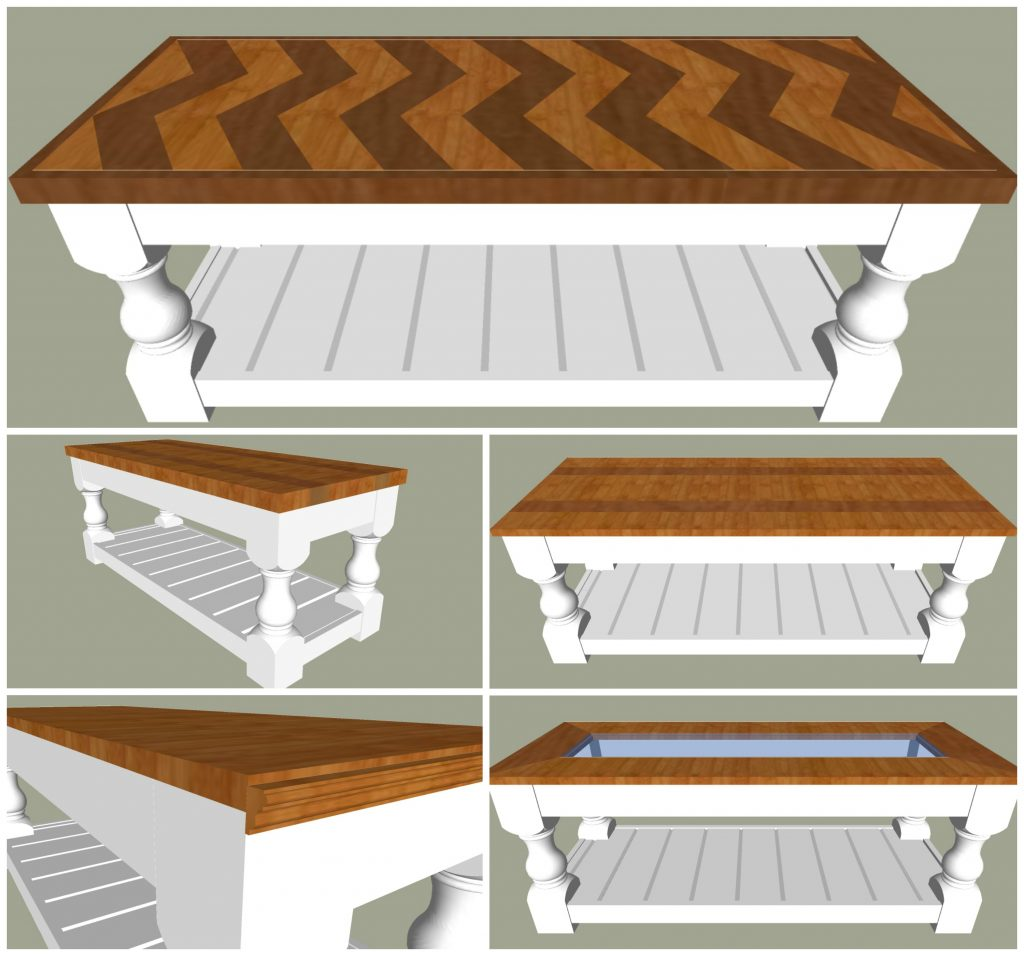 5 optional tops for this chunky leg bench / coffee table frame. Want to know how to build a Modern Farmhouse Bench or Coffee Table? I've got an easy to build and gorgeous tutorial for you. Printable Plans available. #AbbottsAtHome #CoffeeTable #ChevronTable #FarmhouseFurniture #FurniturePlans