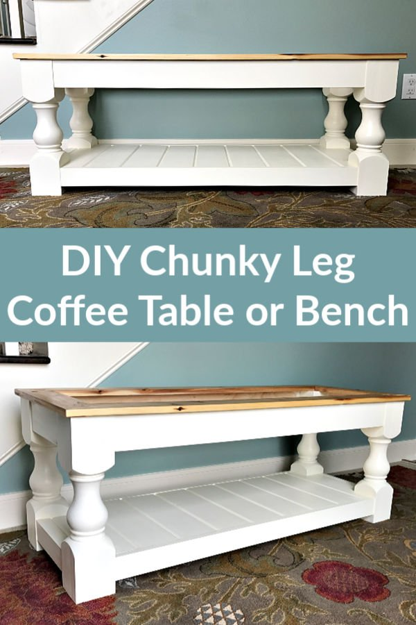 Build plans for this beautiful DIY Modern Farmhouse Bench with a shelf woodworking plans using a Kreg Jig and chunky legs.