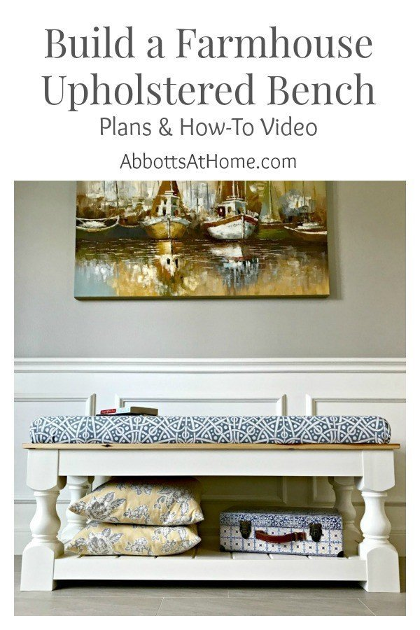 Farmhouse Style DIY Upholstered Bench Plan with Tongue & Groove shelf. Makes a great end of bed bench, dining table bench, living room coffee table or entry bench. #plans #bench #upholstered