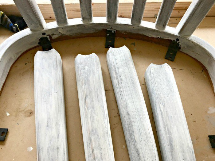 Paint going over Vaseline. Get the DIY Steps and my secret to How to paint and distress furniture perfectly, every time. #Distressing #FurnitureMakeover #ChippyFurniture