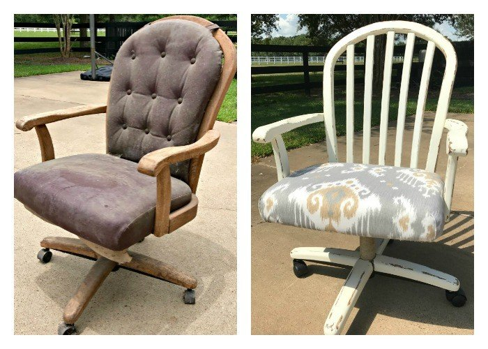 Beautiful office chair makeover and fixing roller wheels on this chair I found on the curb. Trash to treasure story with full details on the steps to restore an office chair and fix the roller wheels.