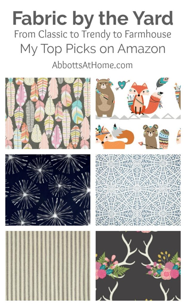 Did you know you can buy some of the best fabric by the yard on Amazon? I found a bunch of cool, farmhouse, trendy, and vintage prints when searching for my last upholstery fabric DIY. Check out my favorite upholstery, clothing, bedding, and outdoor fabrics now.