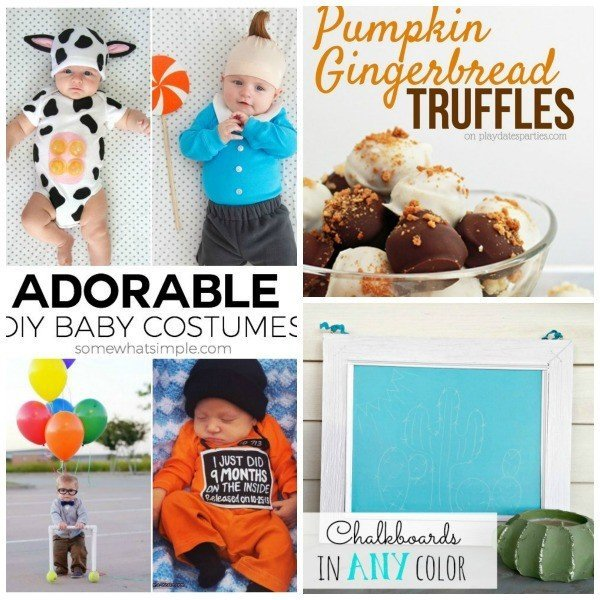 Link Party 54 features adorable diy baby costumes, pumpkin truffles, and chalkboards in any color