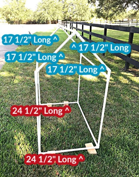 Diagram to build a kids playhouse from pvc pipe.
