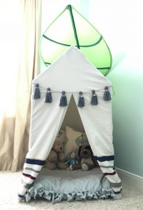 Plans to Build this easy PVC Pipe Tent with drop cloth cover. PVC pipe play house tent build for kids. #PVCTent #PVC #KidsTent