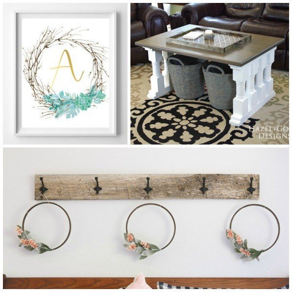 Link Party 56 DIY Plans for a Coffee Table, Embroidery Hoop Wreath, and Monogram Twig and Succulent Printable