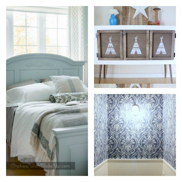 Get the DIY for Painting a Pine Bed, Building a Kids Pull Down Table, and applying fabric as wallpaper. Bloggers can join our Link Party to share.