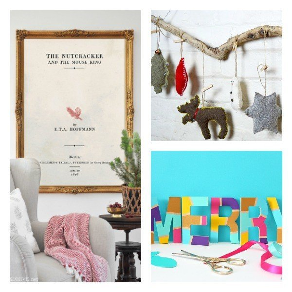 Clever bloggers share their best every week. This weeks features: Upcycled Sweater Christmas Ornaments, DIY Colorful Letters, and Free Printable Christmas Book Art