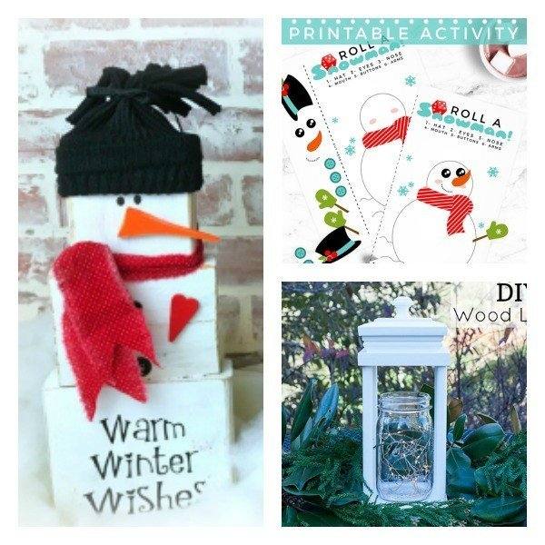 Check out these clever ideas: A DIY Wood Block Snowman, A printable Snowman Dice Game, and a Pretty DIY Wood Lantern.