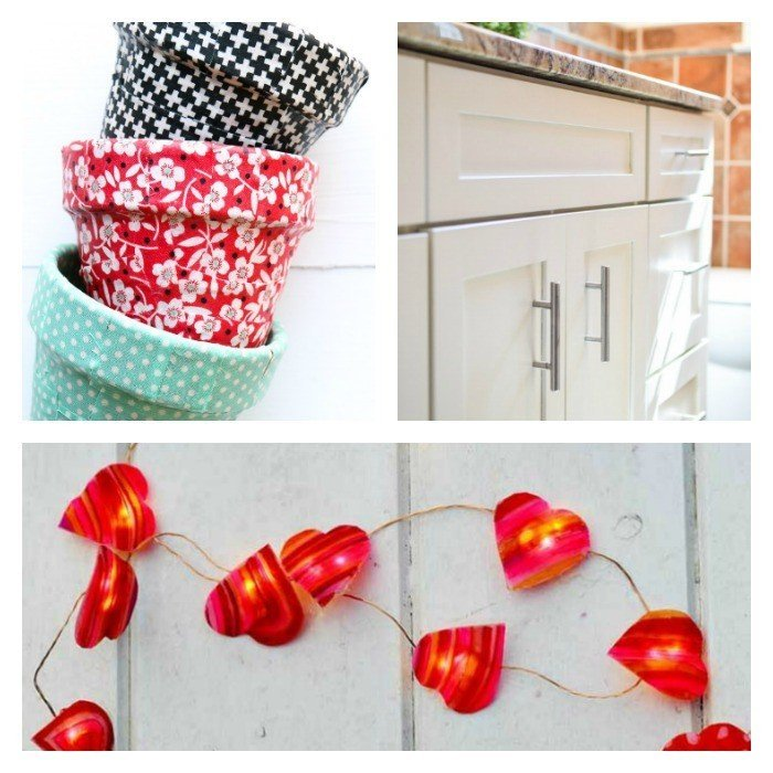 This weeks features: DIY Valentine's Day Heart String Lights, Scrap Fabric Covered Pots, and a Beautiful Cabinet Paint Job! Bloggers join our link party