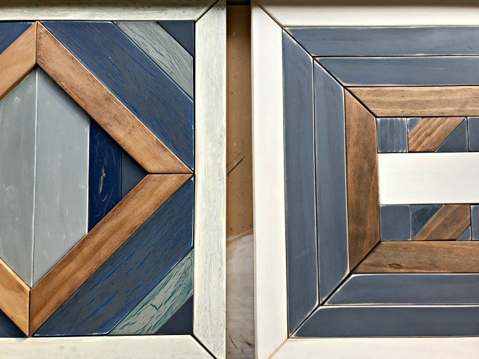 Build your own custom DIY Scrap Wood Geometric Art. Works for Barn Quilt, Tribal Art, Boho, Mosaic, geometric wood designs and more. Includes DIY Tutorial steps and how-to video!