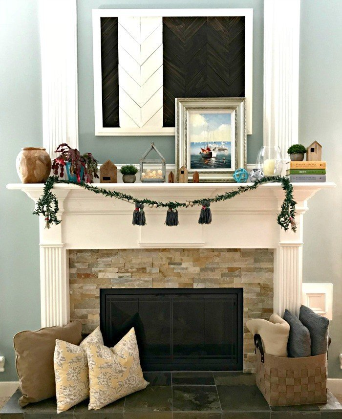Some easy and trendy Mantel Decor Ideas For 2018. I'm loving the Tiny House decor trend, JoAnna Gaines' line at Target, and adding more natural elements like wood and greenery. Especially Acacia! #TargetFinds #FixerUpperStyle