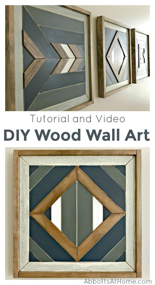 I love this DIY idea! Here's how to build steps and a video to show you how to make your own DIY Scrap Wood Wall Art. #AbbottsAtHome #ScrapWood #GeometricArt #MosaicArt #Woodworking #WoodArt #WoodworkingIdeas