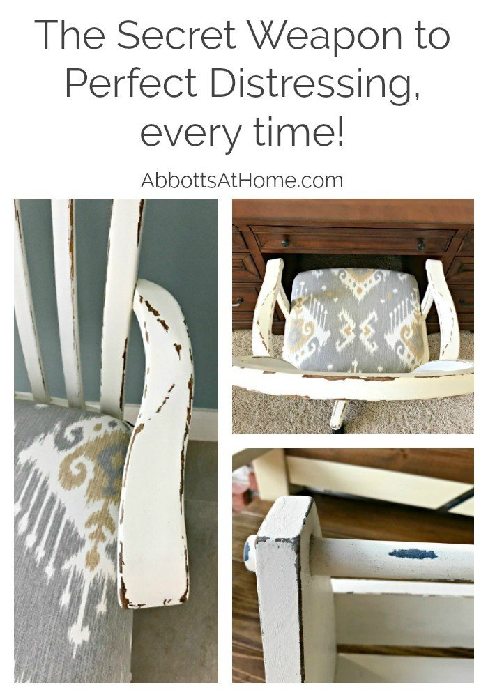 A close look at 3 examples of distressing furniture this way. Get the steps for How to Paint and Distress Furniture Perfectly, every time. And the secret ingredient that makes it so easy. #distressing #furnituremakeovers #Painttips