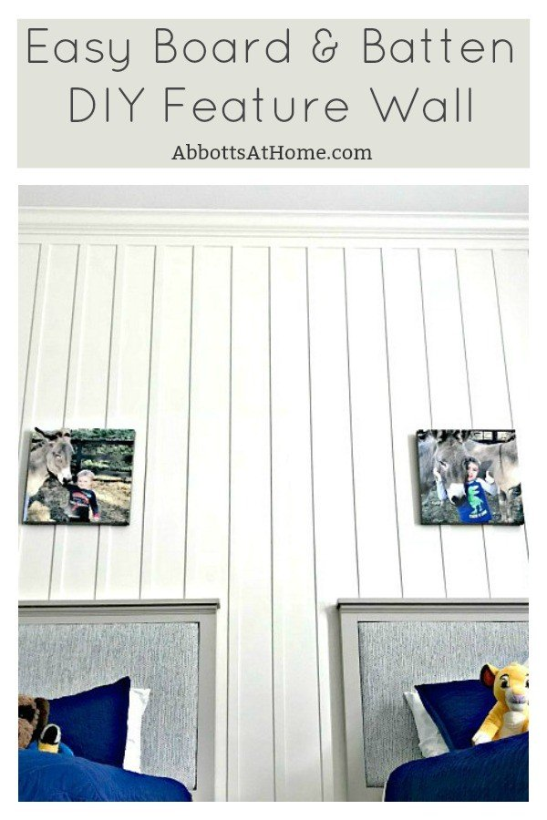 Add this easy DIY Board & Batten wainscoting feature wall to any room for instant character. This is one of those wainscoting ideas that works in a bedroom, living room, dining room, entry, exterior... anywhere. Create your own custom look with this tutorial. #AbbottsAtHome #wainscoting #featurewall #boardandbatten #DIYIdeas #HomeImprovement