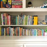 Front view of the DIY Plywood Book Storage. Plywood DIY Kids Book Storage Ideas. Works with Lumber & MDF too. This is a great scrap wood build.