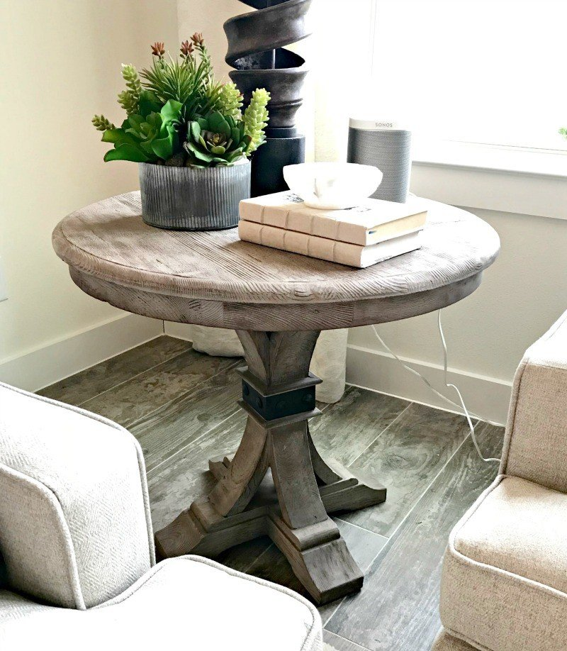 Farmhouse Pedestal Side Table Design Idea. Interior and Furniture Design Inspiration Pictures from Model Homes and Local Stores.
