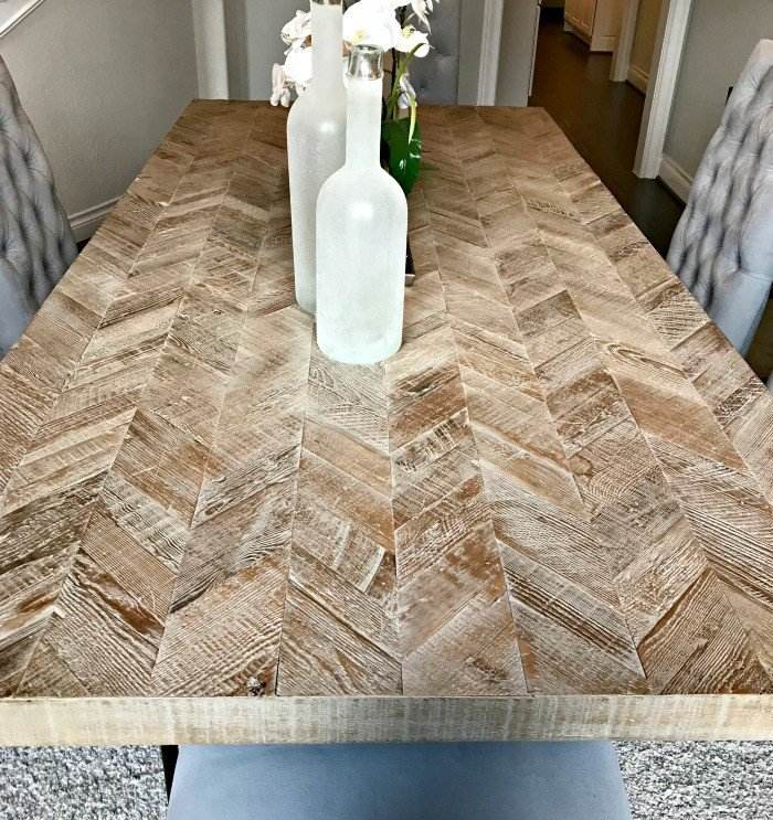 Whitewashed Herringbone Dining Table Design. Interior and Furniture Design Inspiration Pictures from Model Homes and Local Stores.