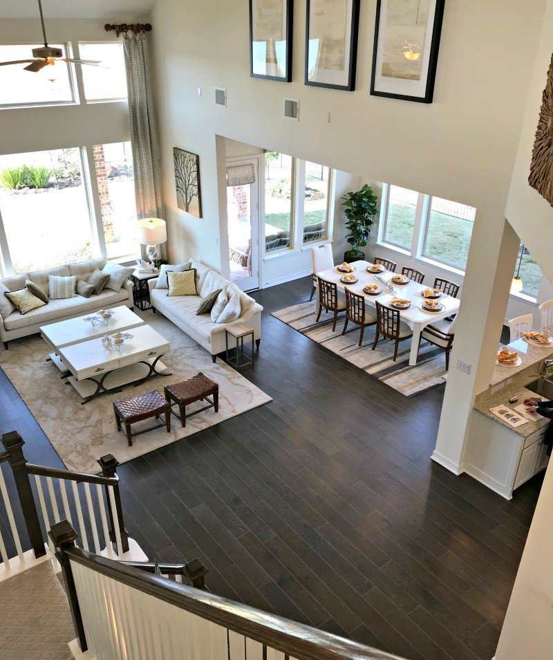 Beautiful Open Concept Living Room, Dining Room, and Kitchen. Interior and Furniture Design Inspiration Pictures from Model Homes and Local Stores.