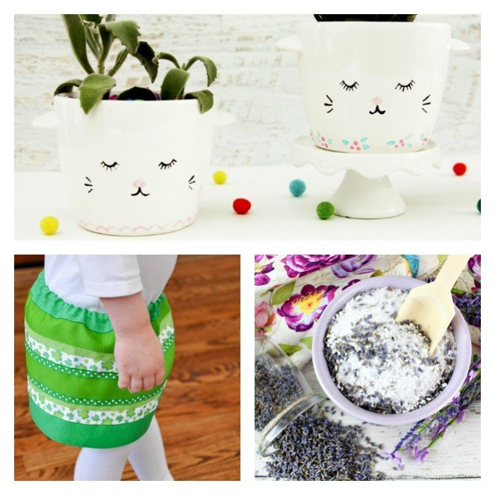 This weeks features include Sleepy Kitten Face DIY Planters, a Ribbon Skirt Tutorial, and Lavendar Bath Salts.