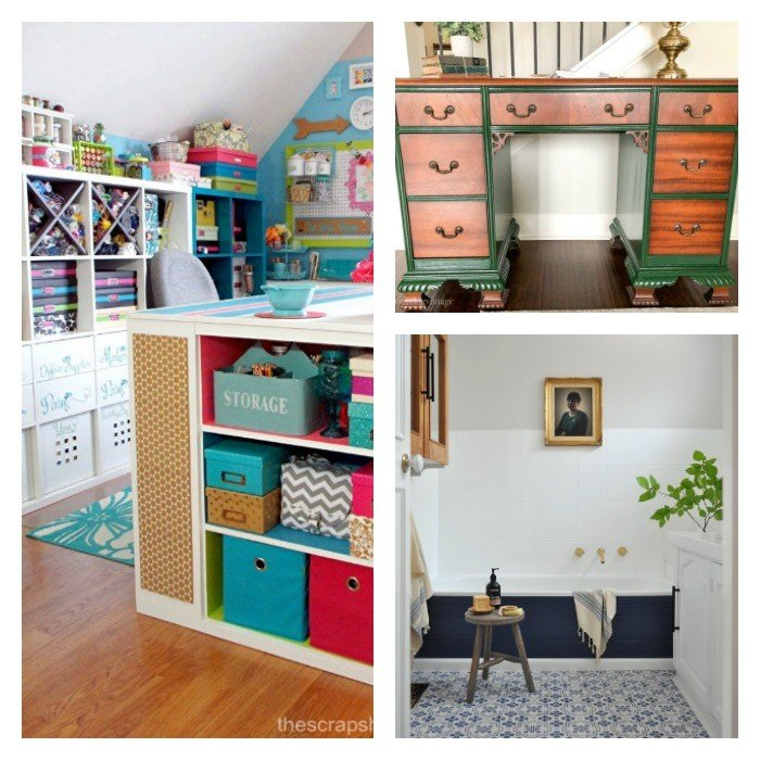 Featuring fantastic projects, including A Green Vintage Desk Makeover, A Dream Craft Room Tour, a budget-friendly Black and White Bathroom Makeover