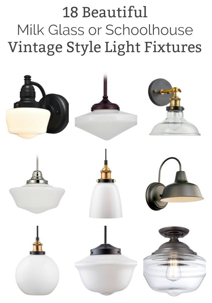 18 of the Best Vintage Style Milk Glass and Schoolhouse Light Fixtures on Amazon. While shopping for my kitchen, I picked out beautiful light fixtures that would work with the latest Vintage, Industrial, Farmhouse, and Schoolhouse Trends.