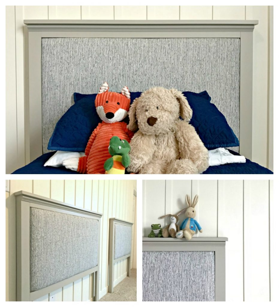 Build your own custom Modern Farmhouse DIY Upholstered Twin Headboard. Change up the paint and upholstery to match any room and style! Full DIY build steps and 2 videos to help you finish the build and upholstered back.